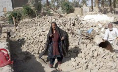 An old couple of Earthquake victim is sitting at rubble of their house helplessly, no rescue team by government and political parties including NGOs official approached to these disastrous people but are engaged in only state elections.