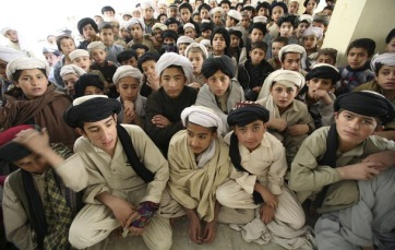 Students sit in their madrasa, or religious school, complex in Quetta